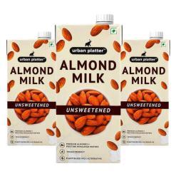 Urban Platter Unsweetened Almond Milk, 1 Litre [Pack Of 3, Barista-Grade, Lactose-Free, Plant-Based Milk Alternative]