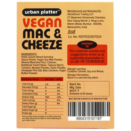 Urban Platter Vegan Mac & Cheeze, Cheddar Style, 200g / 7oz [Plant-based Cheese Sauce, No Added Colours or Preservatives]