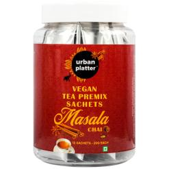Urban Platter Vegan Tea Premix Sachets, Masala Chai, 240g / 8.4oz [Just Add Water, 12 Sachets, Dairy-Free Instant Tea]
