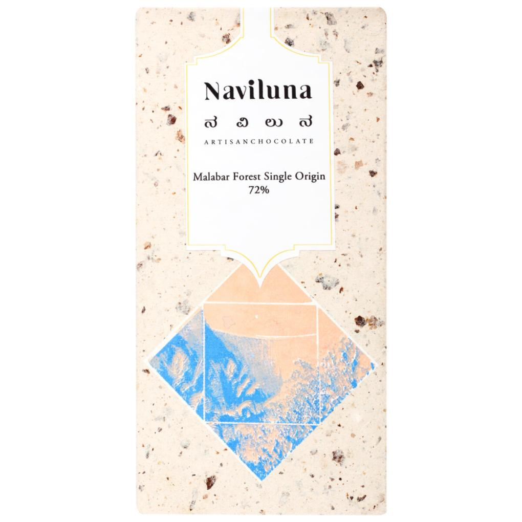 Naviluna 72% Malabar Forest Single Origin Dark Chocolate Bar, 60g