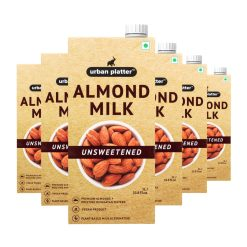 Urban Platter Unsweetened Almond Milk, 1 Litre [Pack of 12, Barista-Grade, Lactose-Free, Plant-Based Milk Alternative]