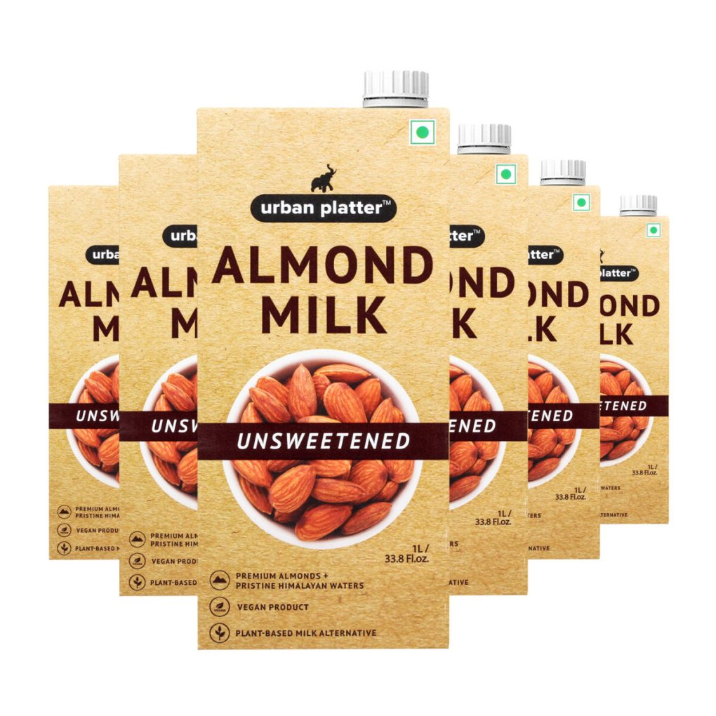 Urban Platter Unsweetened Almond Milk, 1 Litre [Pack Of 6, Barista-Grade, Lactose-Free, Plant-Based Milk Alternative]