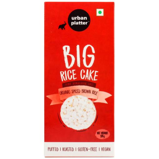 Urban Platter Organic Puffed Spiced Brown Big Rice Cakes, 125g
