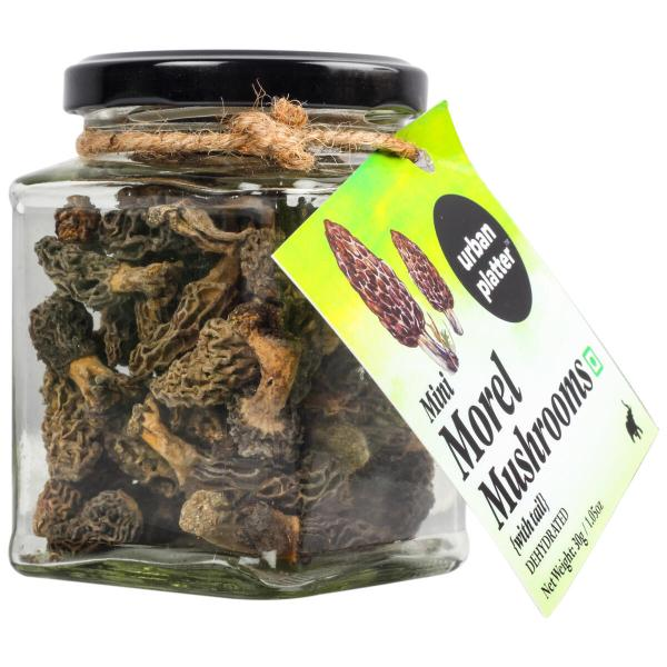 Urban Platter Dehydrated Mini Morel Mushrooms with Tail, 40g / 1.4oz [Gucchi Mushroom]