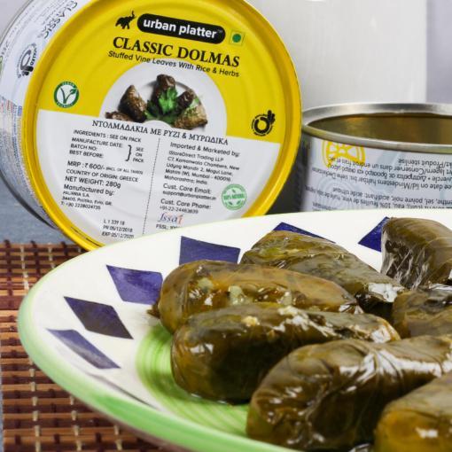 Urban Platter Classic Greek Dolmas, 280g / 9.8oz [Stuffed Vine Leaves With Rice & Herbs Dolmadakia Snack from Greece]