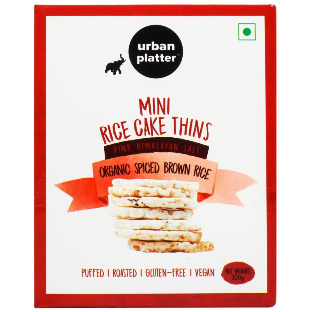 Urban Platter Organic Puffed Spiced Brown Mini Rice Cake Thins, 100g