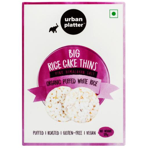 Urban Platter Organic Puffed White Big Rice Cake Thins, 125g