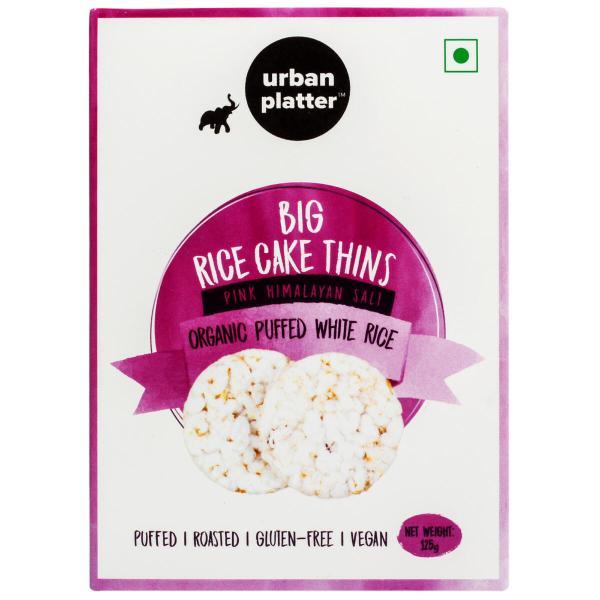 Urban Platter Organic Puffed White Big Rice Cake Thins, 125g