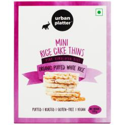 Urban Platter Organic Puffed White Mini Rice Cake Thins, 100g