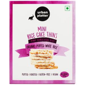 Urban Platter Organic Puffed White Mini Rice Cake Thins, 100g