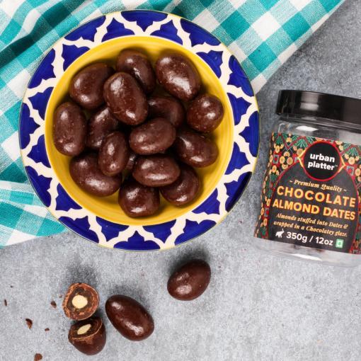 Urban Platter Chocolate Almond Dates, 350g / 12oz [Almond Stuffed Dates Into Chocolate Glaze]