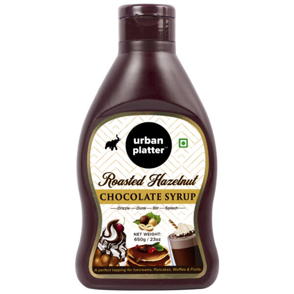 Urban Platter Roasted Hazelnut Chocolate Syrup / Sauce, 650g / 22.9oz [Vegan, Perfect Topping, Premium Quality Chocolatey Treat]