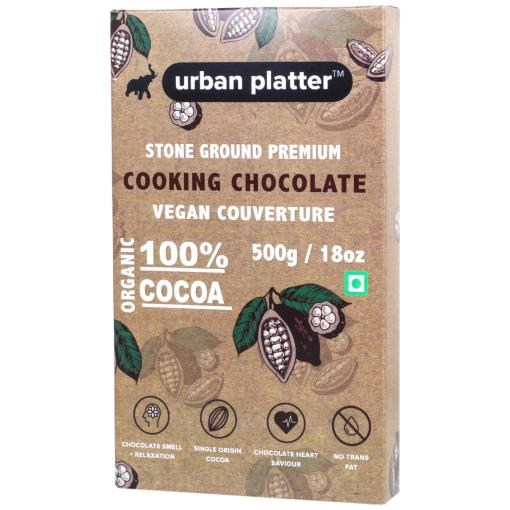 Urban Platter Stone Ground Premium Cooking Chocolate 100% Vegan Couverture, 500g