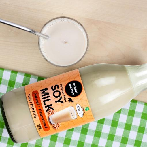 Urban Platter Unsweetened Soy Milk Glass Bottle, 1 Litre / 33.8 fl.oz [Vegan, Dairy-free Alternative, Protein Rich]
