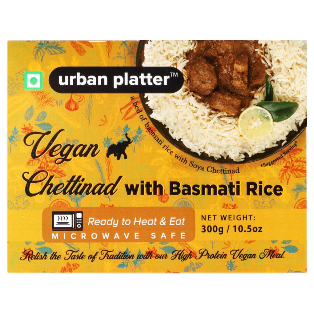Urban Platter Vegan Chettinad with Basmati Rice, 300g / 10.5oz [Vegan Meals, Ready to Heat & Eat, Microwave Safe]