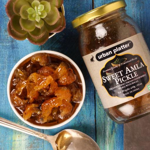 Urban Platter Sweet Amla (Gooseberry) Pickle, 450g / 16oz [Amla Aachar, Avla, Traditional Recipe]