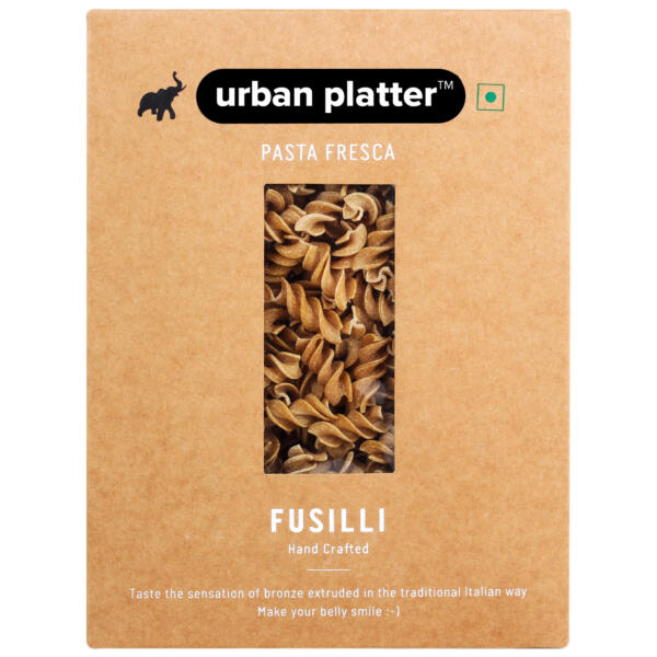 Urban Platter Vegan Pasta Fresca Whole Wheat Fusilli, 500g / 17.6oz [Hand Crafted]