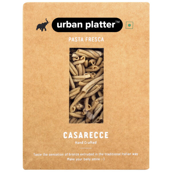 Urban Platter Vegan Pasta Fresca Whole Wheat Casarecce, 500g / 17.6oz [Hand Crafted]