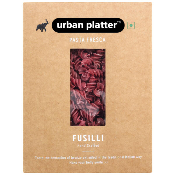 Urban Platter Vegan Pasta Fresca Beetroot Fusilli, 500g / 17.6oz [Hand Crafted]