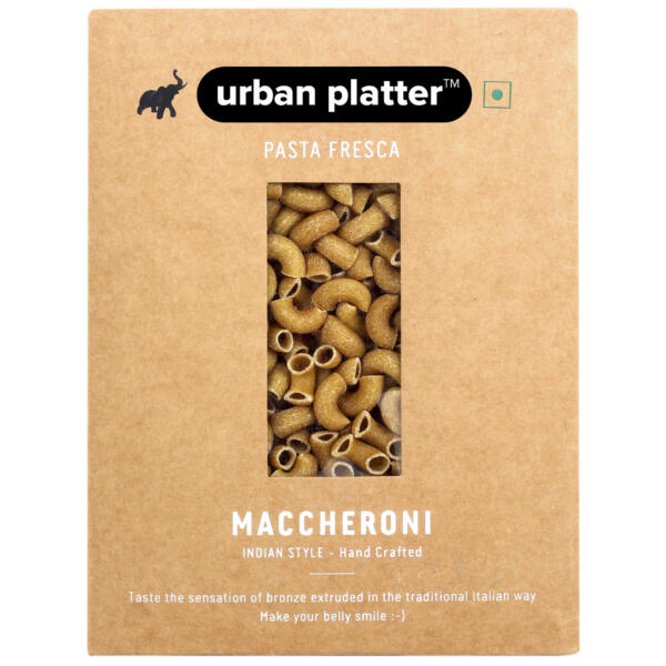 Urban Platter Vegan Pasta Fresca Whole Wheat Maccheroni, 500g / 17.6oz [Hand Crafted]