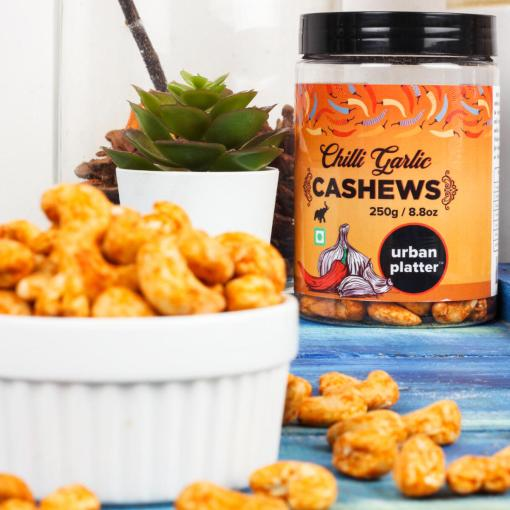Urban Platter Chilli Garlic Cashew Nuts, 250g