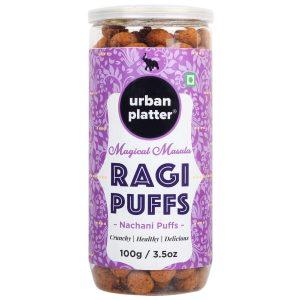 Urban Platter Magic Masala Ragi Puffs, 100g / 3.5oz [Crunchy & Healthy Nachani Puffs]