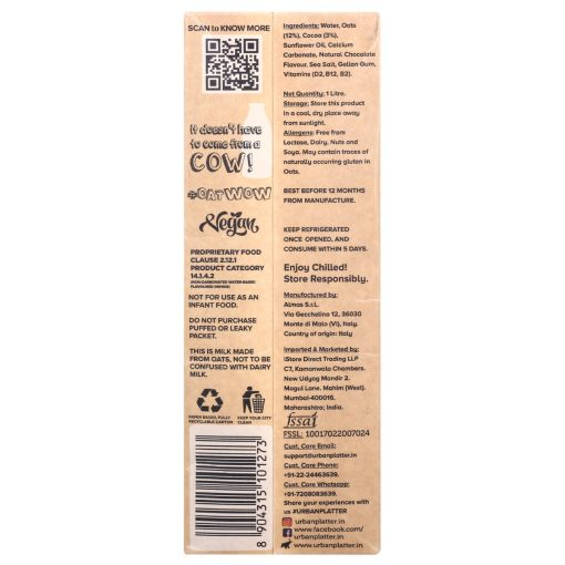 Urban Platter OatWOW Rich Cocoa, 1 Litre / 35.2fl.oz [Dairy-free Oat Milk, Sugar-free & Rich Chocolate Flavour, Lactose-free]