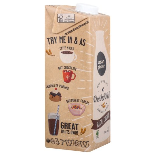 Urban Platter OatWOW Rich Cocoa, 1 Litre / 35.2fl.oz [Dairy-free Oat Milk, Sugar-free & Rich Chocolate Flavour, Lactose-free] [Best Before: 18/03/2021]