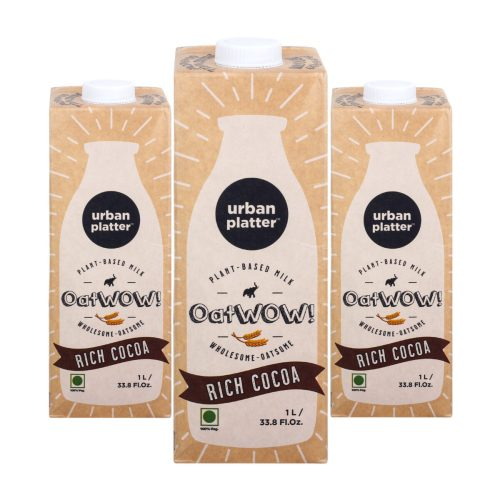 Urban Platter OatWOW Rich Cocoa, 1 Litre / 35.2fl.oz [Pack of 3, Dairy-free Oat Milk, Sugar-free & Rich Chocolate Flavour, Lactose-free]