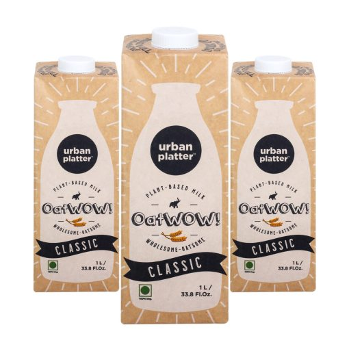 Urban Platter OatWOW Classic, 1 Litre / 35.2fl.oz [Pack of 3, Dairy-free Oat Milk, Naturally Sweet and Creamy, Lactose-free]