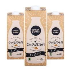 Urban Platter OatWOW Classic, 1 Litre / 35.2fl.oz [Pack of 3, Dairy-free Oat Milk, Naturally Sweet and Creamy, Lactose-free] [Best Before: 18/03/2021]