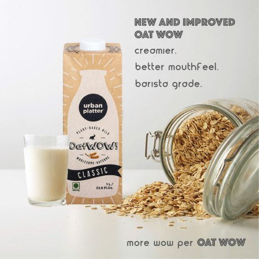 Urban Platter OatWOW Vanilla, 1 Litre / 35.2fl.oz [Pack of 12, Dairy-free Oat Milk, Delicious and Aromatic, Lactose-free]