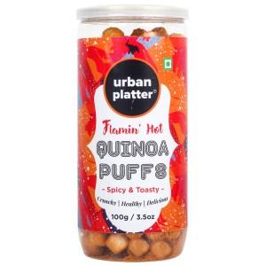 Urban Platter Flamin' Hot Quinoa Puffs, 100g / 3.5oz [Spicy & Toasty Healthy Snacks]