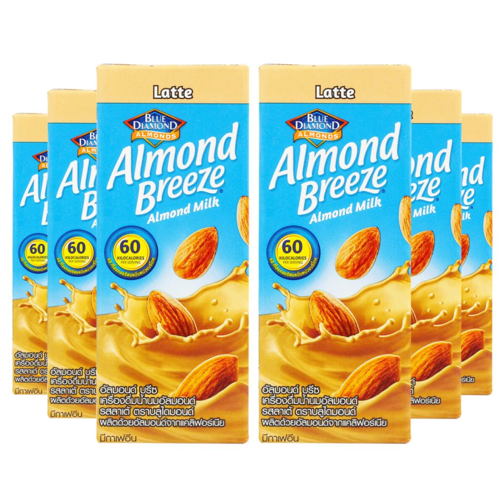 Blue Diamond Almond Breeze Coffee Latte Almond Milk, 180ml [Pack of 6]