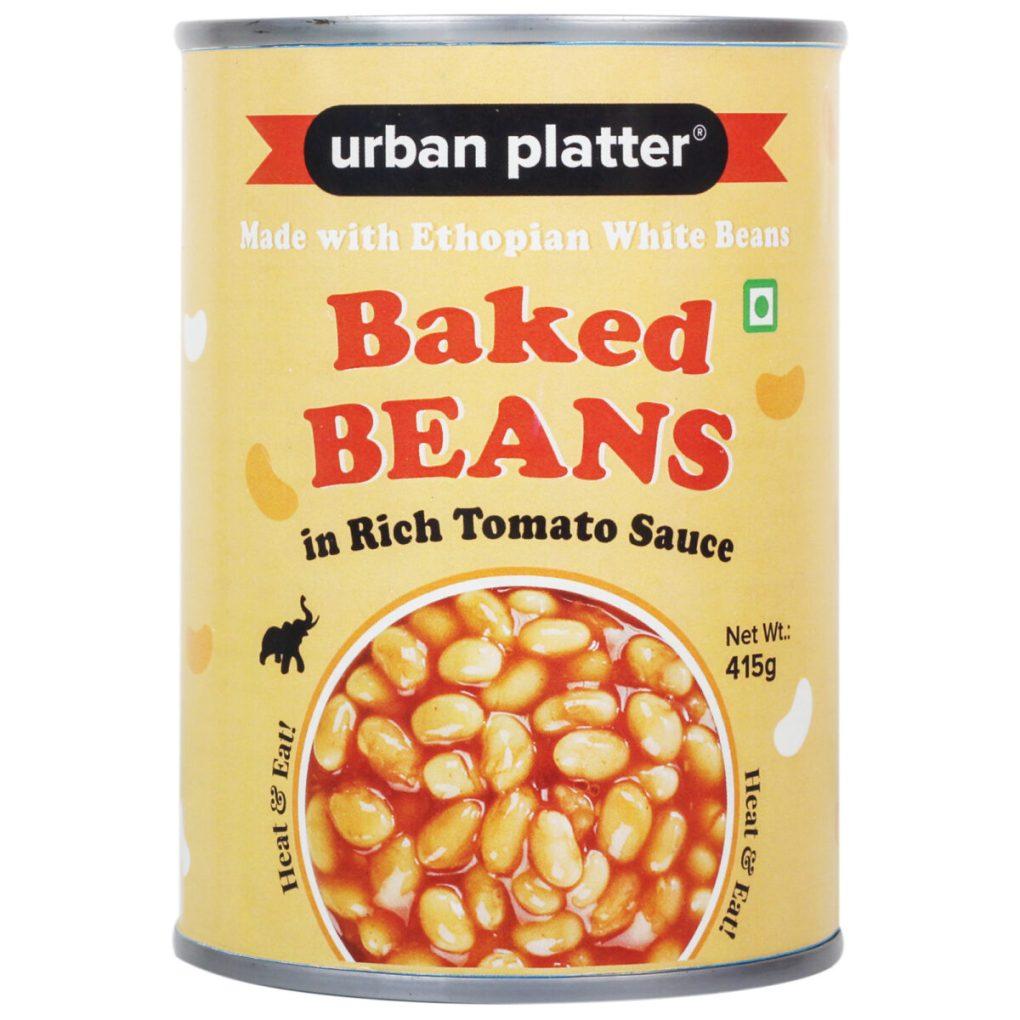 Urban Platter Baked Beans in Tomato Sauce, 415g / 14.63oz [Heat & Eat Ethiopian White Beans]