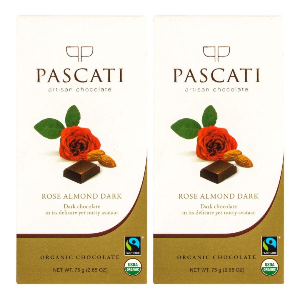 Pascati Chocolate Rose Almond Dark, Organic Chocolate, 75g [Pack of 2]