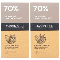Mason & Co. 70% Cacao Chip Dark Organic Exotic Artisanal Chocolate, 60g (Pack of 2)