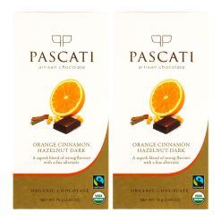 Pascati Chocolate Orange Cinnamon Hazelnuts Dark USDA Organic Chocolate, 75g [Pack of 2]