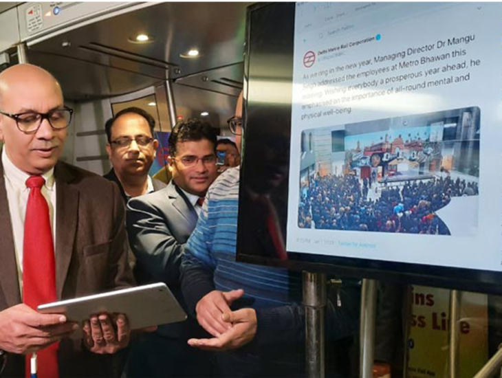 Dr Mangu Singh launched the 'Free High Speed Wi-Fi' facility for passengers travelling on the Airport Express Line.