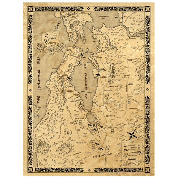 Silicon Valley fantasy map in LOTR style