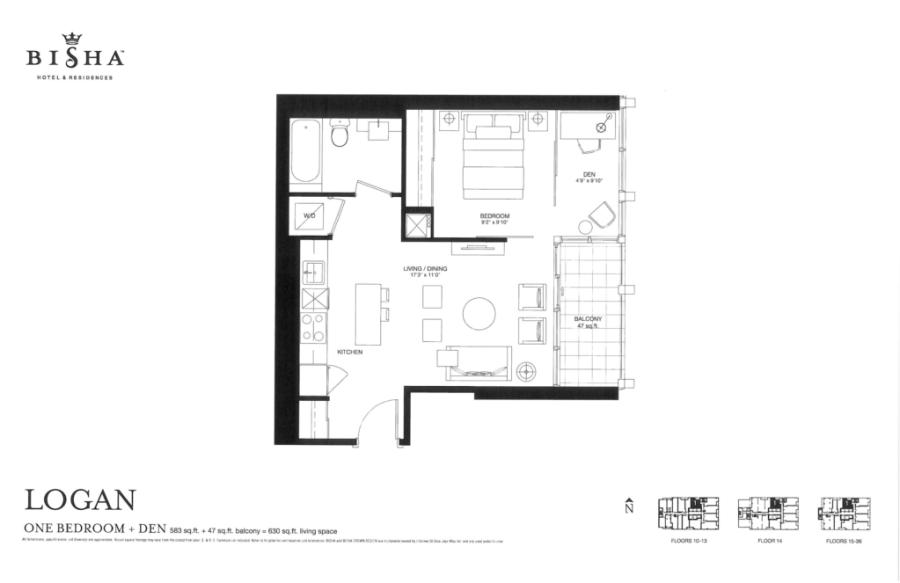 BISHA HOTEL & RESIDENCES - FLOORPLANS ONE BEDROOM PLUS DEN 583 SQ FT