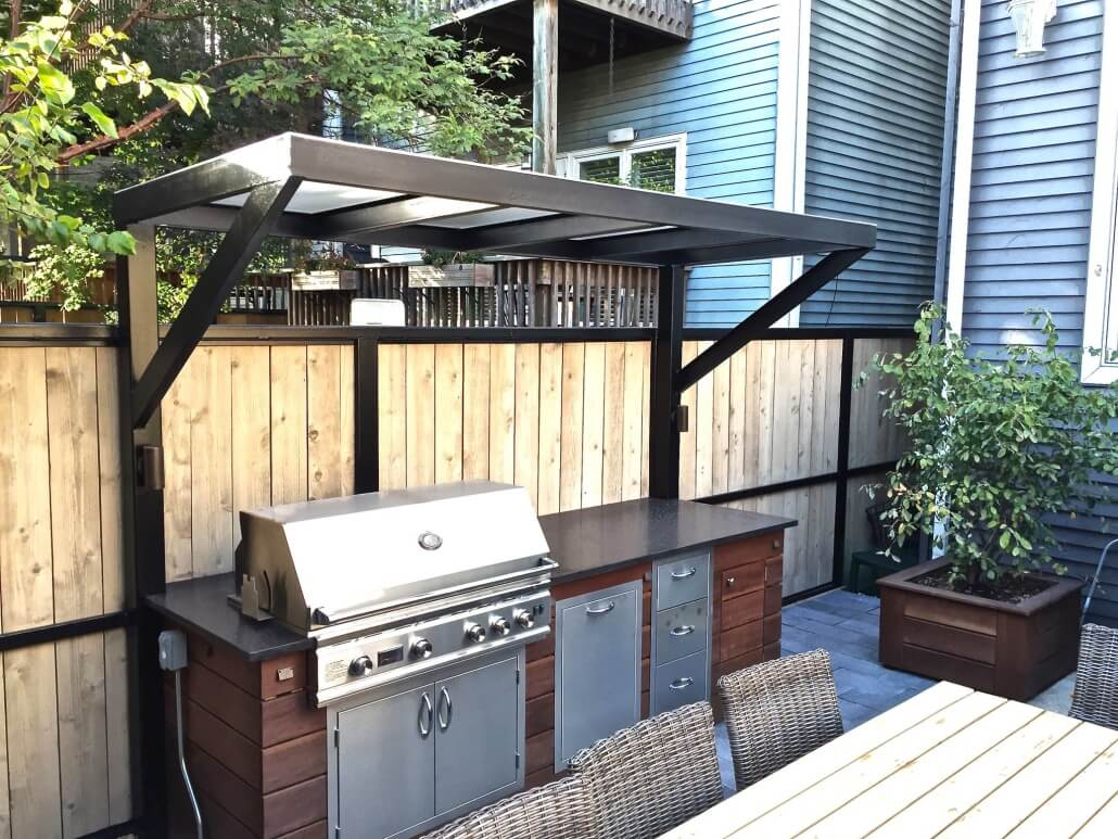Patio With A Fireplace And A Gas Grill In Chicago. on Patio Grilling Area id=54626