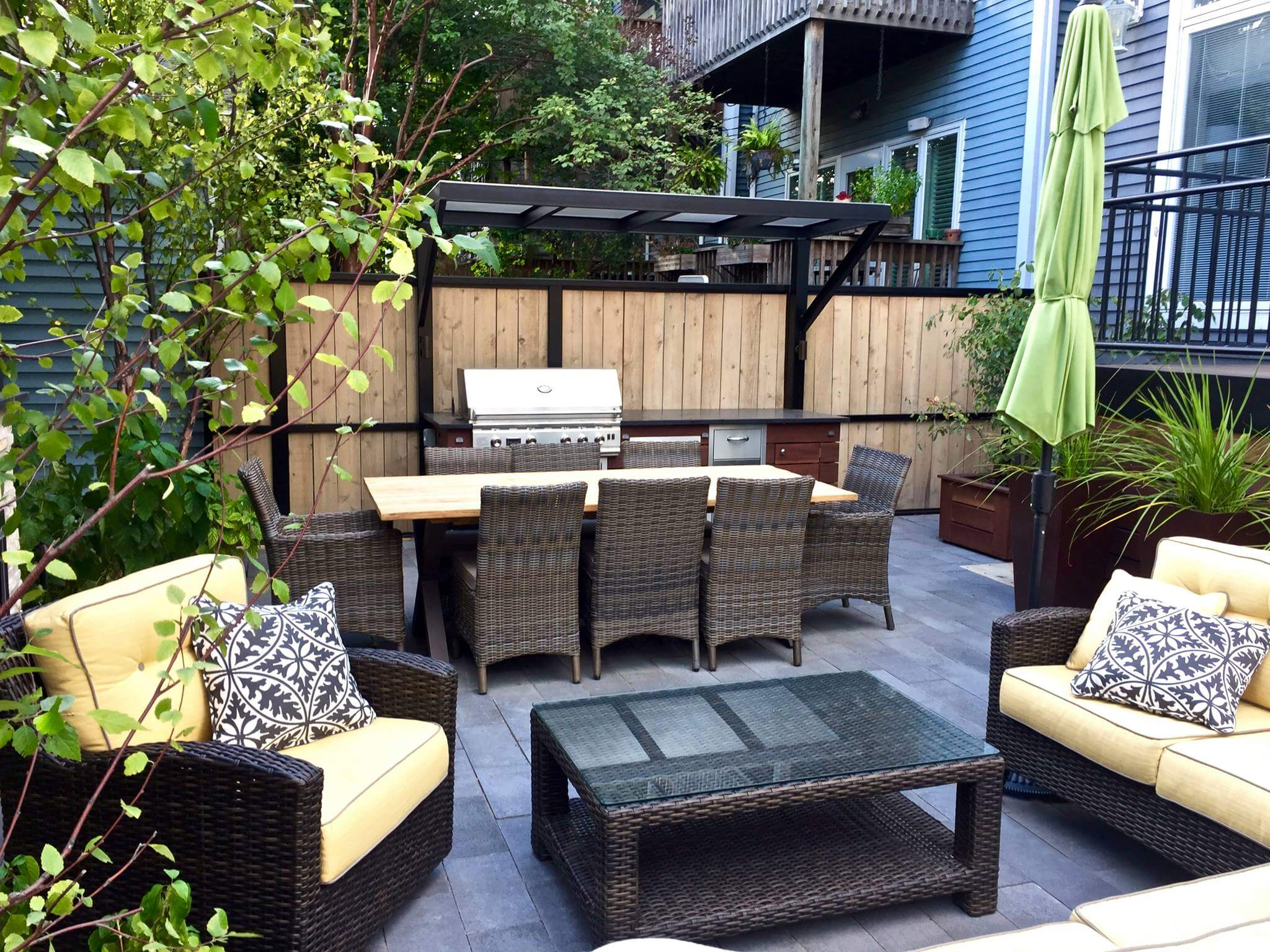 Patio With A Fireplace And A Gas Grill In Chicago. on Outdoor Grill Patio id=29492