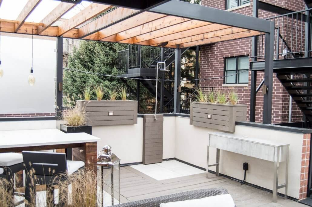 Steel And Wood Rooftop Pergola Urban Rooftops Chicago