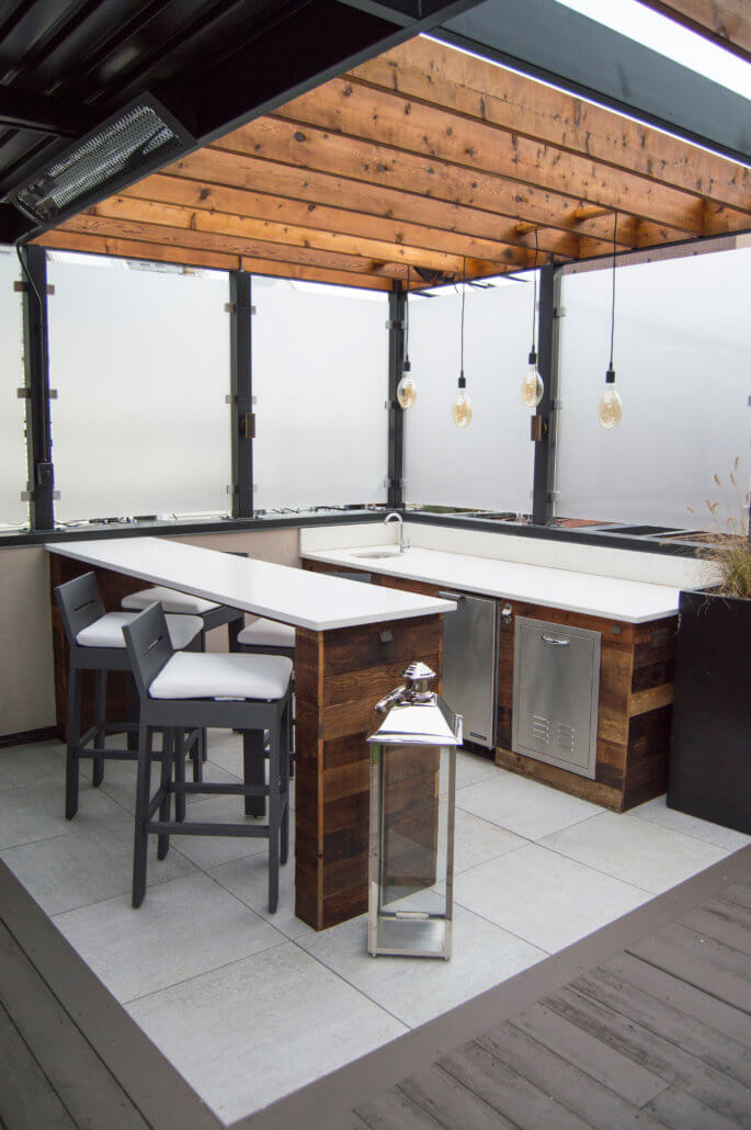 Rooftop Deck With Steel & Wood Pergola - Lakeview, Chicago ... on Backyard Bar With Roof id=42734