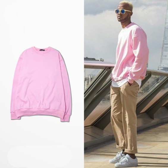 Pink sweater for men with crewneck