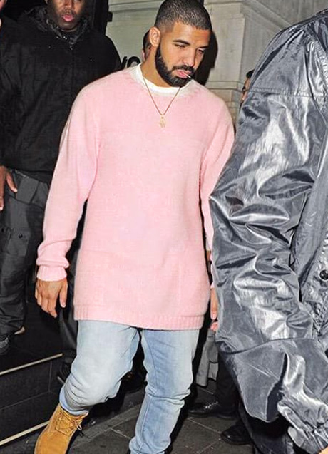 Drake in pink sweater