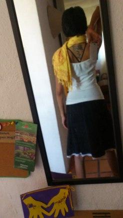 aum shawl + hand-me-down skirt