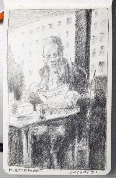 The old man: 2b, 6b and 9b graphite pencils on Hand-book journal, 9 x 14 cm