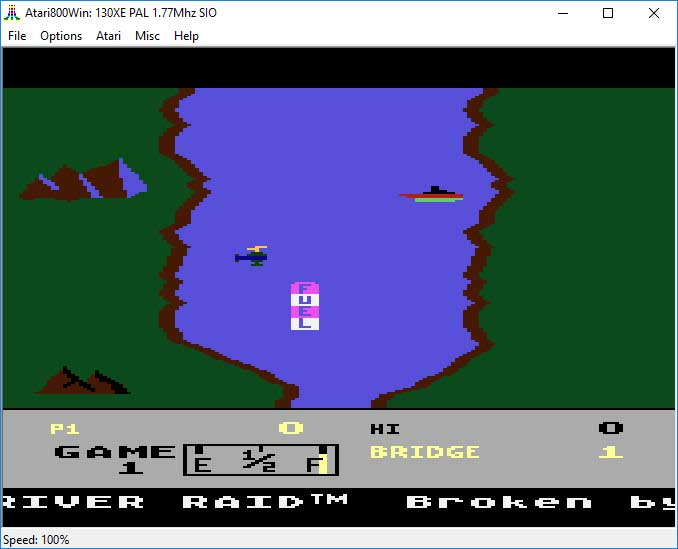 "Emulator Atari800Win - gra ""River Raid"""